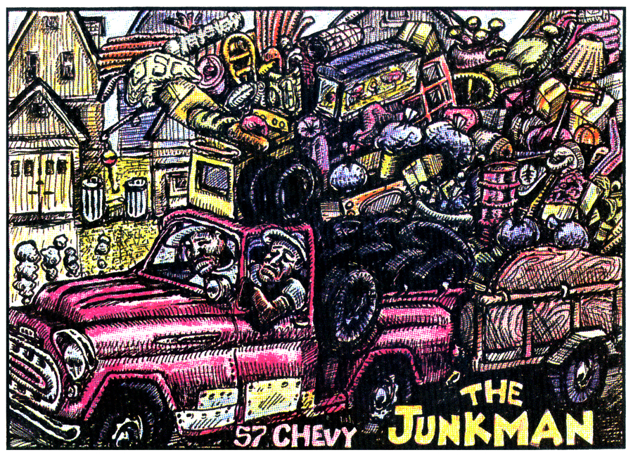 Lithograph inner city junk man
