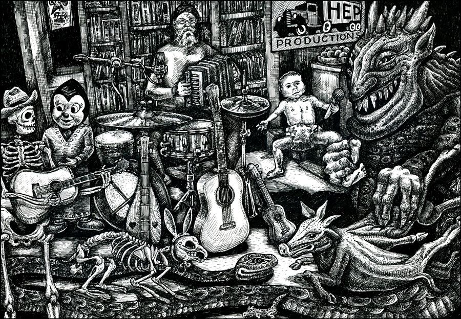 Distracted artist Greg Martens plays accordion, drums, guitar, ukulele, with demon, snakes, skeleton and baby