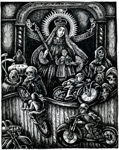 The Madonna takes her Son to watch the motorcycles on the Wall of Death as the skeletons watch