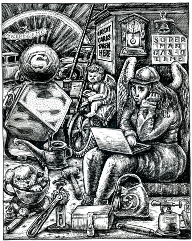 Homage to Durer's print adjusted for Superman
