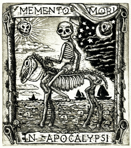 Intaglio death and skeleton horse