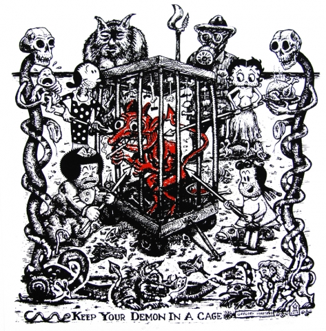 Red Demon in a cage poked by Nancy, Olive Oyl, Little Lulu, and Betty Boop