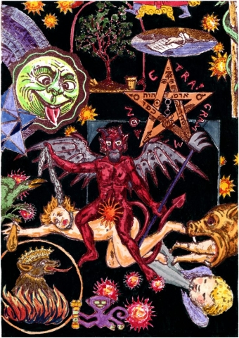 Hand colored lithograph with satan, devil, theif, tetragrammaton, hell, sin